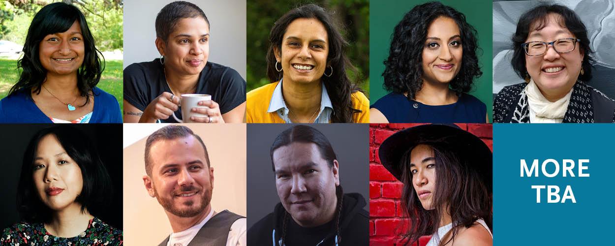 Headshots of program mentors Sharon Bala, Tanya Boteju, Natasha Deen, Farzana Doctor, Jen Sookfong Lee, Sally Ito, Danny Ramadan, Waubgeshig Rice, and Kai Cheng Thom.